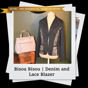 EUC | Bisou Bisou Denim and Lace Blazer